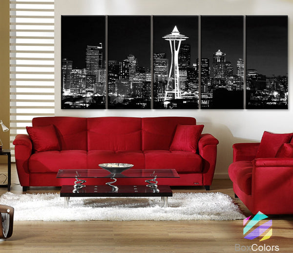 "XLARGE 30""x 70"" 5 Panels Art Canvas Print Seattle Washington night light Downtown Skyline Black & White Wall Home  decor (framed 1.5"" depth) - BoxColors"