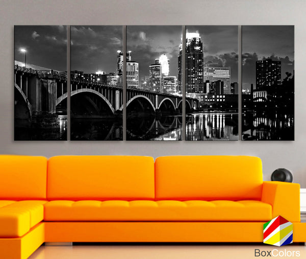 "XLARGE 30""x70"" 5 Panels Art Canvas Print Minnesota Skyline bridge night River Black White Wall Home Office decor interior (framed 1.5""depth) - BoxColors"