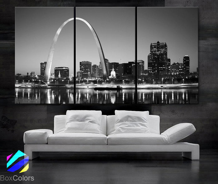 "LARGE 30""x 60"" 3 Panels Art Canvas Print beautiful St. louis Skyline Black & White City Missouri Wall Home (Included framed 1.5"" depth) - BoxColors"