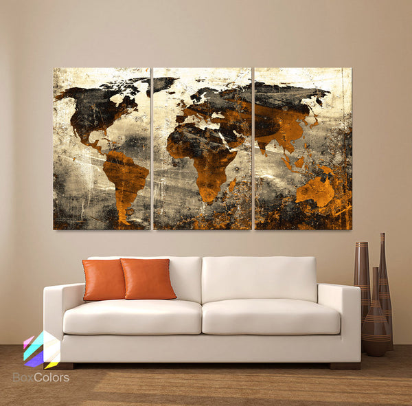 "LARGE 30""x 60"" 3 Panels Art Canvas Print World Map Abstract background Texture Metal Wall Decor Home Office (Included framed 1.5"" depth) - BoxColors"
