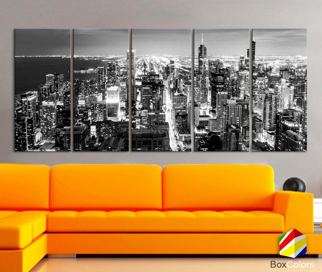 "XLARGE 30""x 70"" 5 Panels Art Canvas Print Chicago Aerial Skyline night Downtown Black & White Wall Home decor interior ( framed 1.5"" depth) - BoxColors"