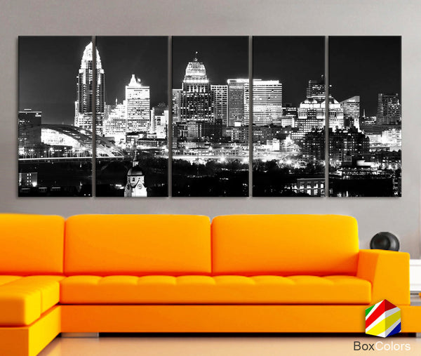 "XLARGE 30""x 70"" 5 Panels Art Canvas Print Cincinnati City night light Downtown Skyline Black & White Wall Home  decor (framed 1.5"" depth)"