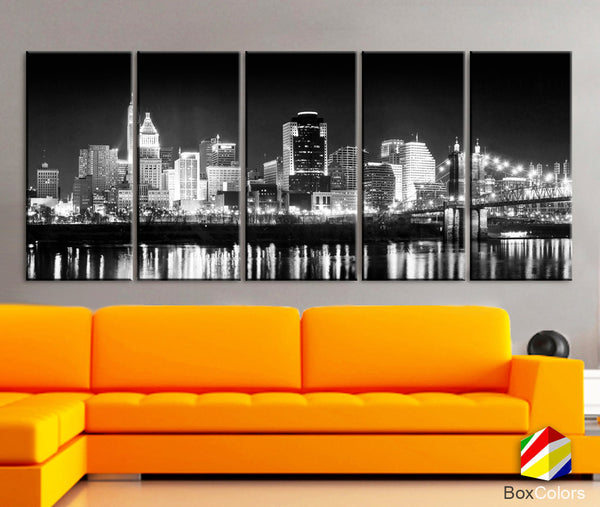 "XLARGE 30""x 70"" 5 Panels Art Canvas Print Cincinnati bridge night light Downtown Skyline Black & White Wall Home  decor (framed 1.5"" depth) - BoxColors"