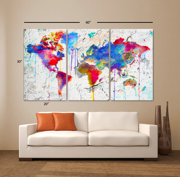 "LARGE 30""x 60"" 3 Panels Art Canvas Print Map world watercolor Abstract Colorful Wall decor Home interior Decoration (framed 1.5"" depth) - BoxColors"