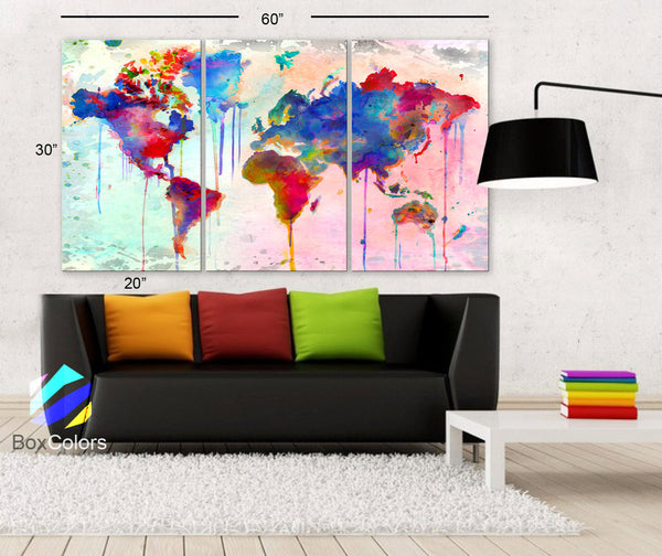 "LARGE 30""x 60"" 3 Panels Art Canvas Print Map world Watercolor Abstract  Colorful Wall decor Home Office interior Decor (framed 1.5"" depth) - BoxColors"