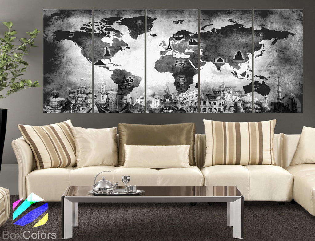 "XLARGE 30""x 70"" 5 Panels Art Canvas Print Original Wonders of the world Old Map Black & White Wall decor Home interior (framed 1.5"" depth) - BoxColors"