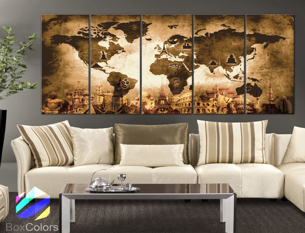 "XLARGE 30""x 70"" 5 Panels Art Canvas Print Original Wonders of the world Old Map Brown Yellow Wall decor Home interior (framed 1.5"" depth) - BoxColors"