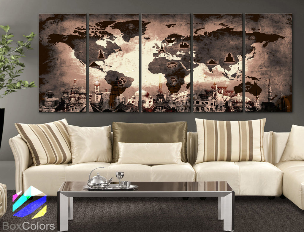 "XLARGE 30""x 70"" 5 Panels Art Canvas Print Original Wonders of the world Old Map Brown Sepia Wall decor Home interior (framed 1.5"" depth) - BoxColors"