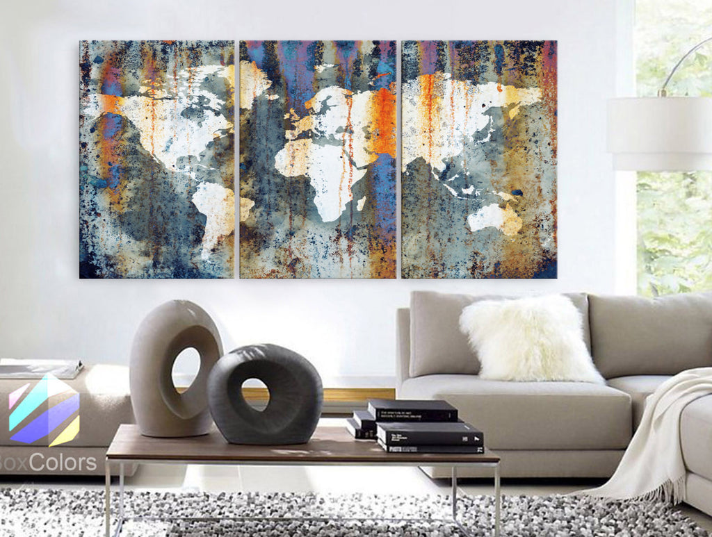 Large 30 X 60 3 Panels Art Canvas Print World Map Texture Abstract Orange Light Blue Wall Decor Home Office Interior Framed 1 5 Depth