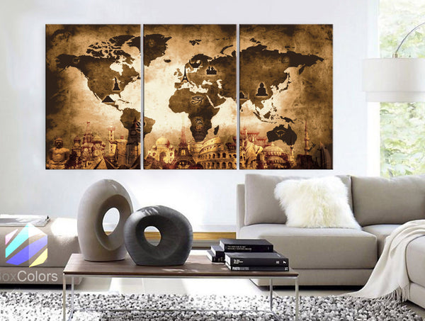 "LARGE 30""x60"" 3 Panels Art Canvas Print Original Wonders of the world Old Paper Map Brown sepia Wall decor Home interior (framed 1.5"" depth) - BoxColors"