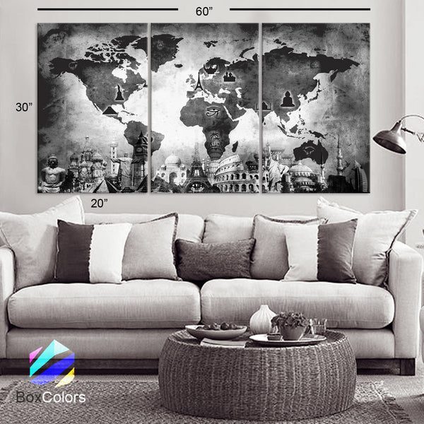 "LARGE 30""x 60"" 3 Panels Art Canvas Print Original Wonders of the world Old Map Black & White Wall decor Home interior (framed 1.5"" depth) - BoxColors"
