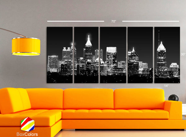 "XLARGE 30""x70"" 5 Panels Art Canvas Print Beautiful Atlanta skyline light buildings black & white Wall Home Office decor ( framed 1.5"" depth) - BoxColors"