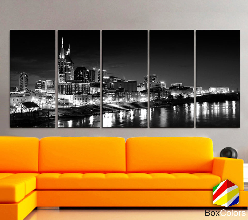 "XLARGE 30""x70"" 5 Panels Art Canvas Print Nashville City Skyline Downtown night Black & White Wall Home  decor interior ( framed 1.5"" depth) - BoxColors"