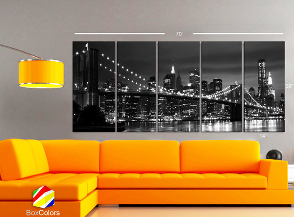 "XLARGE 30""x 70"" 5 Panels Art Canvas Print beautiful New York Brooklyn bridge skyline Black & White Wall Home (Included framed 1.5"" depth) - BoxColors"