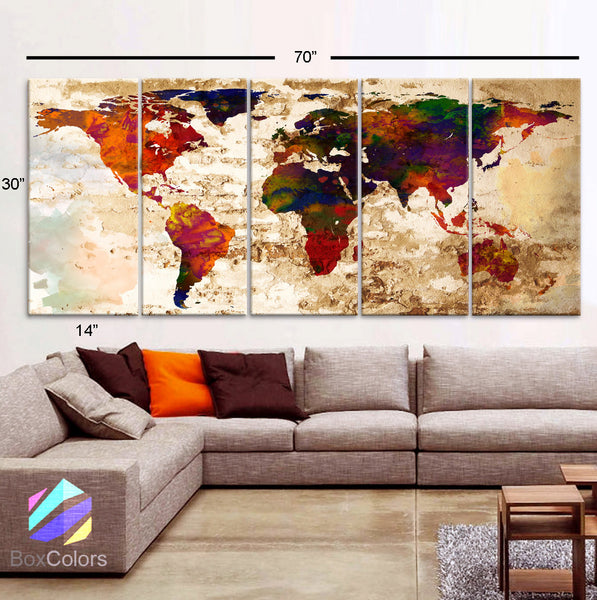 "XLARGE 30""x 70"" 5 Panels Art Canvas Print Watercolor Texture Map Old brick Wall Fullcolor red orange decor Home interior (framed 1.5"" depth) - BoxColors"