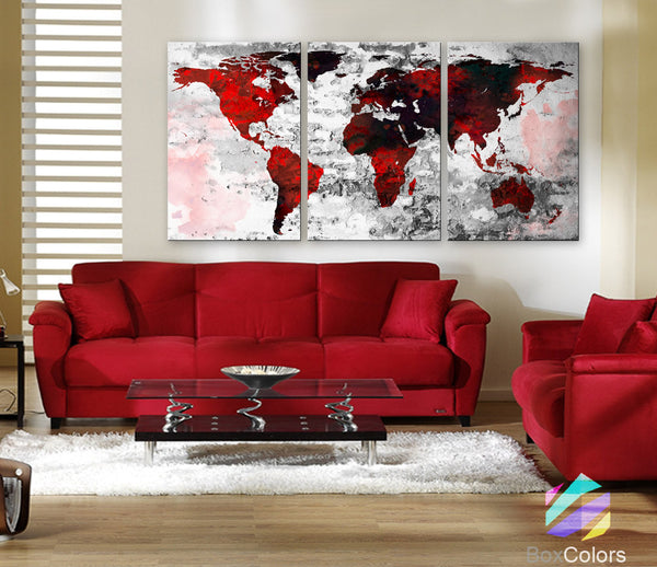 "LARGE 30""x 60"" 3 Panels Art Canvas Print Watercolor Texture Map Old brick Wall color red black white decor Home interior (framed 1.5"" depth) - BoxColors"