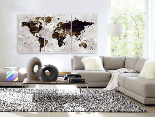"LARGE 30""x 60"" 3 Panels Art Canvas Print Watercolor Map World Push Pin Travel Wall color Brown beige decor Home interior (framed 1.5"" depth) - BoxColors"