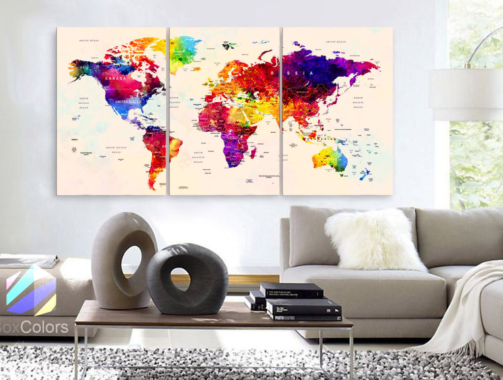 "LARGE 30""x 60"" 3 Panels Art Canvas Print Watercolor Map World Push Pin Travel cities Wall beige background decor Home  (framed 1.5"" depth) - BoxColors"