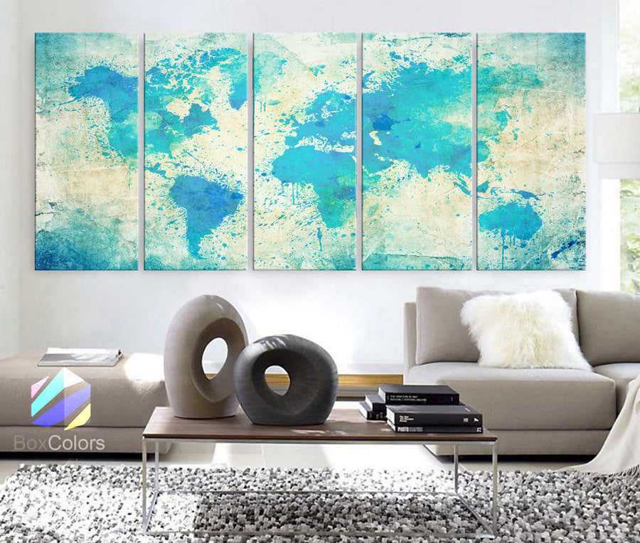 "XLARGE 30""x70"" 5 Panels Art Canvas Print Original Watercolor Map world Extra large panel Wall decor Home Office interior (framed 1.5"" depth) - BoxColors"