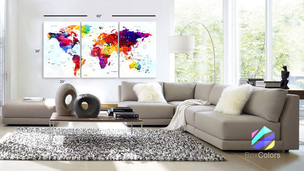"LARGE 30""x60"" 3Panels Art Canvas Print Watercolor Map World Push Pin Travel cities (1.5"" depth)"
