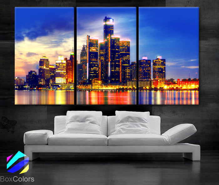 "LARGE 30""x 60"" 3 Panels Art Canvas Print beautiful Detroit Skyline Fullcolors Wall Home office decor  interior (Included framed 1.5"" depth) - BoxColors"
