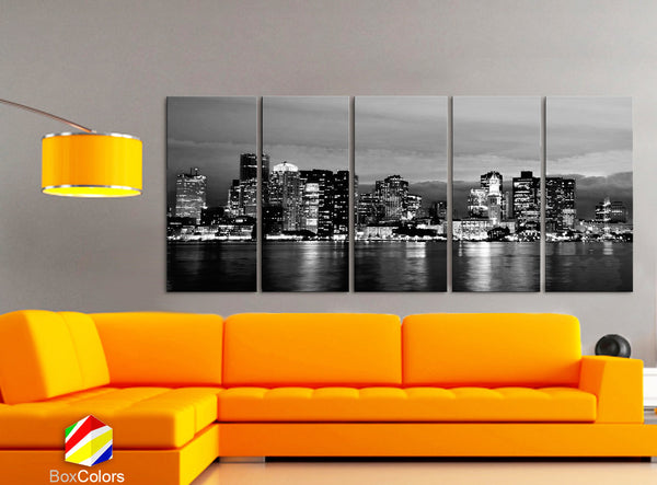 "XLARGE 30""x 70"" 5 Panels Art Canvas Print beautiful Boston Skyline night Black & White Wall Home Office decor interior ( framed 1.5"" depth) - BoxColors"