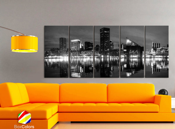 "XLARGE 30""x 70"" 5 Panels Art Canvas Print beautiful Baltimore Skyline night Black & White Wall Home Office decor ( framed 1.5"" depth) - BoxColors"
