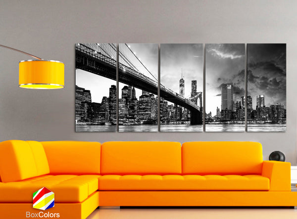 "XLARGE 30""x 70"" 5 Panels Art Canvas Print beautiful Brooklyn Bridge Skyline night New York Black & White Wall Home decor (framed 1.5"" depth) - BoxColors"