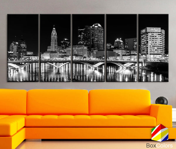 "XLARGE 30""x70"" 5 Panels Art Canvas Print Columbus Ohio Skyline bridge night Downtown Black White Wall Home decor interior (framed 1.5""depth) - BoxColors"