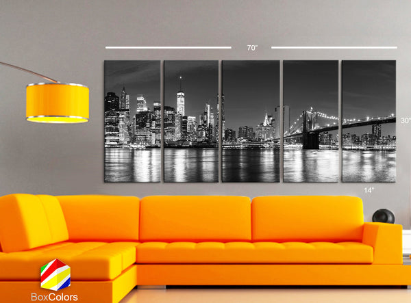"XLARGE 30""x70"" 5 Panels Art Canvas Print Manhattan Skyline bridge night NY Downtown Black White Wall Home decor interior (framed 1.5""depth) - BoxColors"