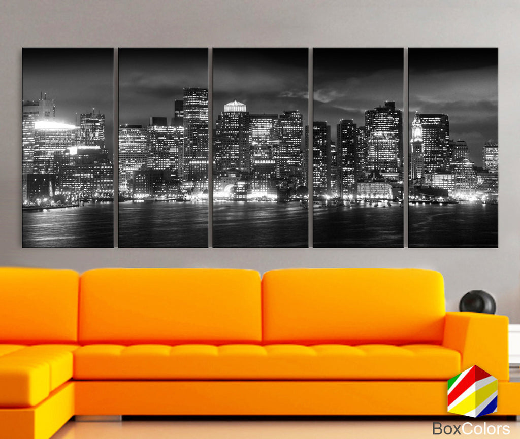 "XLARGE 30""x70"" 5 Panels Art Canvas Print Boston light Skyline bridge night Black White Wall Home Office decor interior (framed 1.5""depth) - BoxColors"
