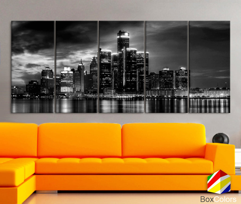 "XLARGE 30""x70"" 5 Panels Art Canvas Print Ditroit light Skyline Downtown night Black White Wall Home Office decor interior (framed 1.5""depth) - BoxColors"