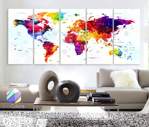 "XLARGE 30""x 70"" 5 Panels Art Canvas Print World Map Original Watercolor Push Pin Travel cities Wall  Home Office decor (framed 1.5"" depth) - BoxColors"