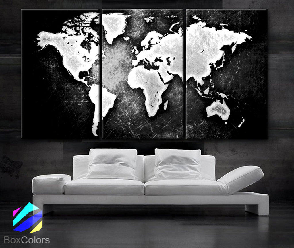 "LARGE 30""x 60"" 3 Panels 30""x20"" Ea Art Canvas Print World Map Black & White Contrast Wall Home Office decor interior (Included framed 1.5"" depth) - BoxColors"