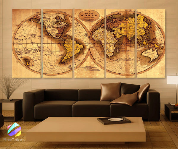 "XLARGE 30""x 70"" 5 Panels 30""x14"" Ea  Art Canvas Print Original world Map Old Vintage Rustic Wall decor Home Office interior (Included framed 1.5"" depth) - BoxColors"