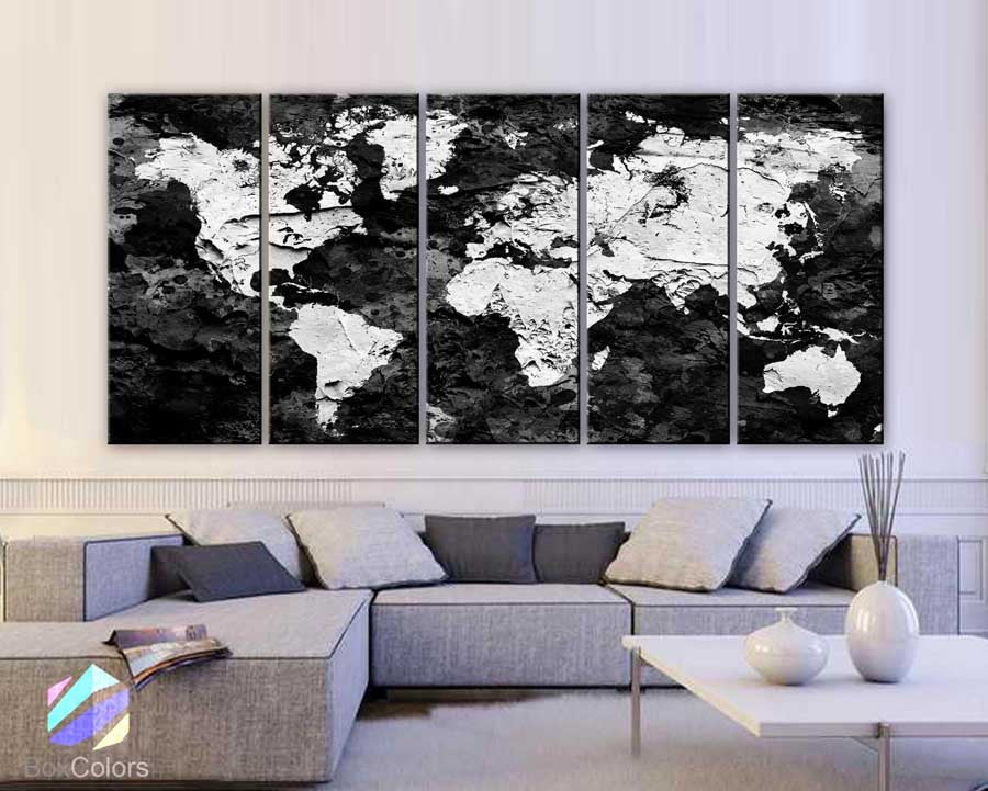 "Xlarge 30""x 70"" 5 Panels 30x14 Ea Art Canvas Print Original Map World Concrete Paint Black & White Wall Decor Home Interior (Framed 1.5"" Depth) - BoxColors"