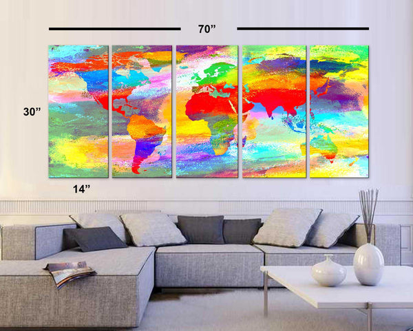"XLARGE 30""x 70"" 5 Panels 30""x14"" Art Canvas Print Acrylic Texture Original World Map pastels colors Wall Home decor interior (framed 1.5"" depth) - BoxColors"