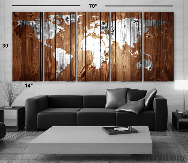 "XLARGE 30""x 70"" 5 Panels Art Canvas Print Original Wood Texture Map vintage Brown White Wall decor Home interior (framed 1.5"" depth) - BoxColors"