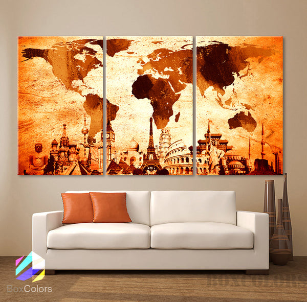 "LARGE 30""x 60"" 3 Panels 30""x20"" Ea Art Canvas Print Original Wonders of the world Map Old Vintage Wall decor Home interior (Included framed 1.5"" depth) - BoxColors"