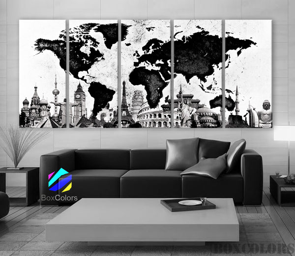 "XLARGE 30""x 70"" 5 Panels 30""x14"" Ea Art Canvas Print World Map Original Watercolor texture Old Black & White Wall Home Office decor (framed 1.5"" depth) - BoxColors"