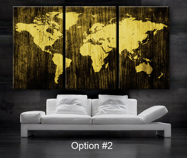 "LARGE 30""x60"" 3Panels Art Canvas Print World Map Wood texture home decor - BoxColors"