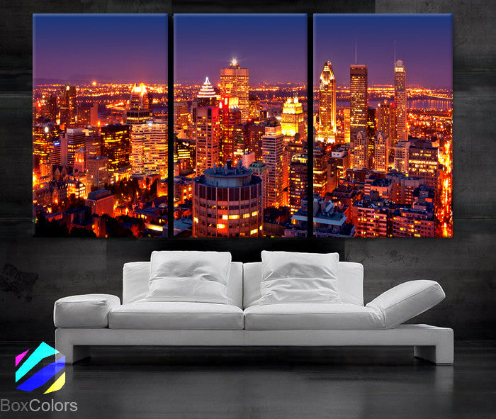 "LARGE 30""x 60"" 3Panels Art Canvas Print Montreal Canada City skyline night Wall Home decor (framed 1.5"" depth) - BoxColors"