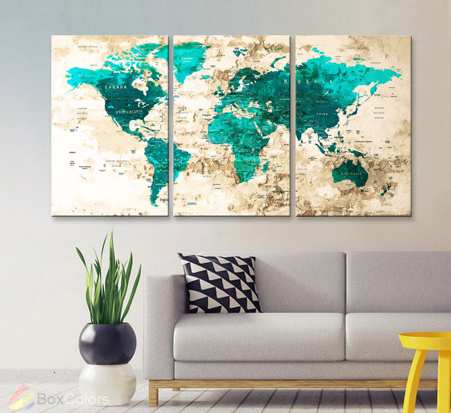 "LARGE 30""x 60"" 3panels 30x20 Ea Art Canvas Print Watercolor Map World Push Pin Travel M1802 - BoxColors"