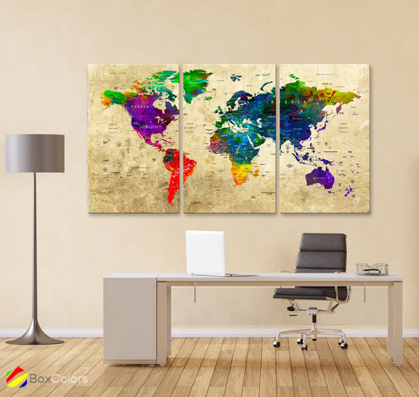 "LARGE 30""x 60"" 3 panels 30x20 Ea Art Canvas Print Watercolor Map World Push Pin M1829 - BoxColors"