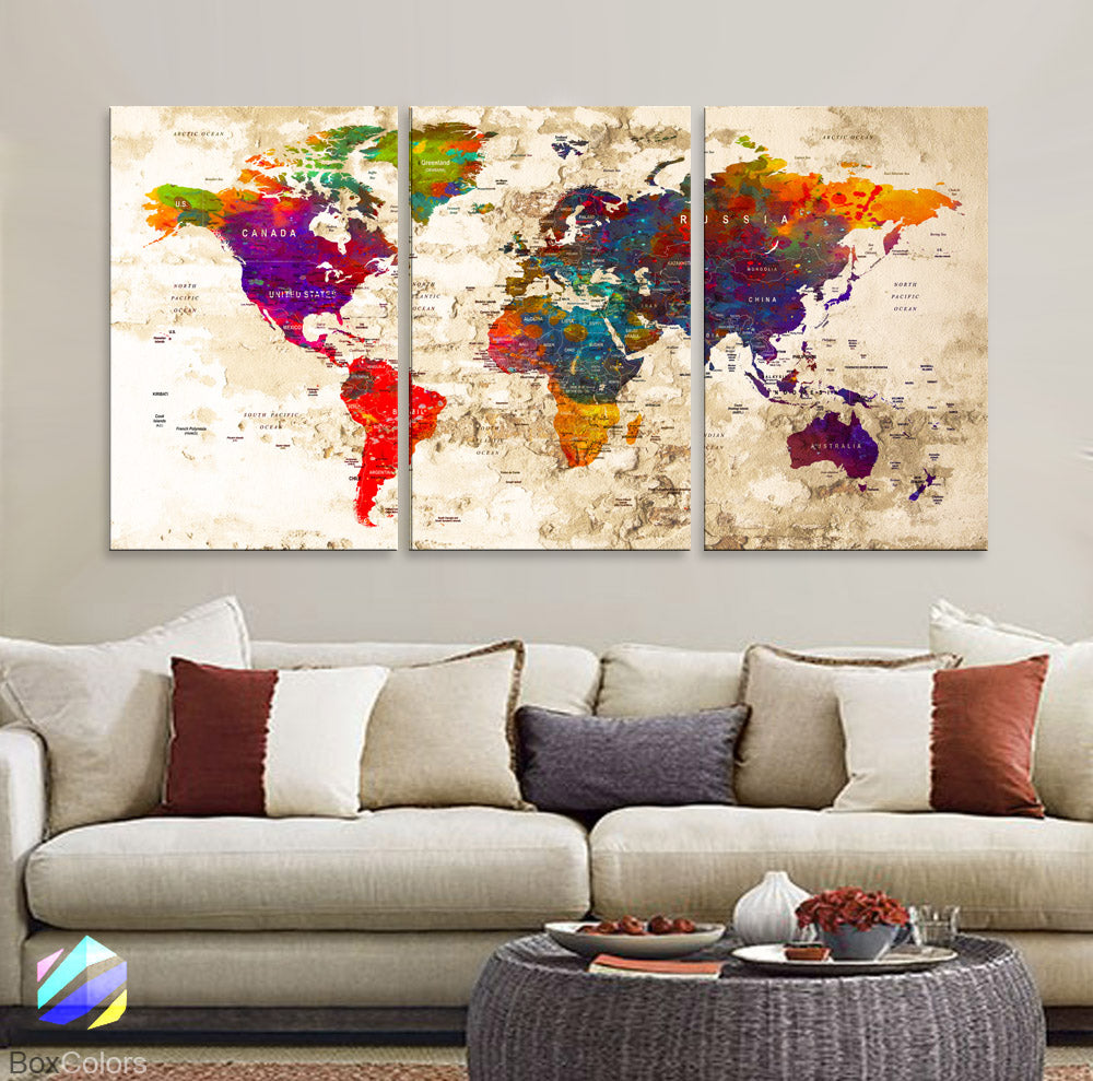 "LARGE 30""x 60"" 3 panels 30x20 Ea Art Canvas Print Watercolor Old Map World Push Pin Travel M1816 - BoxColors"