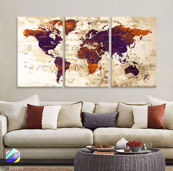 "LARGE 30""x 60"" 3 panels 30x20 Ea Art Canvas Print Watercolor Old Map World Push Pin Travel M1817 - BoxColors"