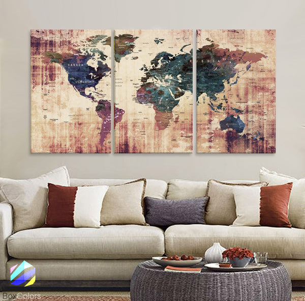 "LARGE 30""x 60"" 3 panels 30x20 Ea Art Canvas Print Watercolor  Old Map World Push Pin Travel M1819 - BoxColors"