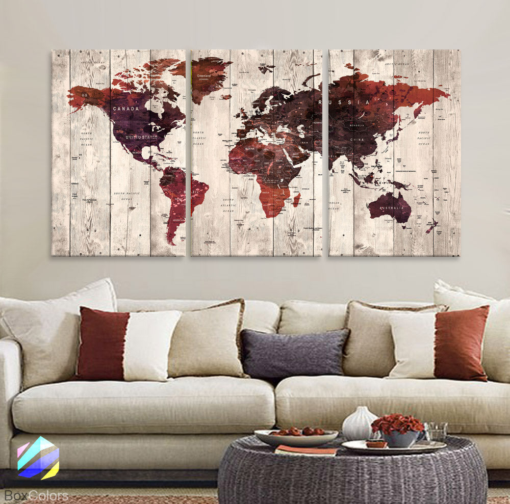 "LARGE 30""x 60"" 3 panels 30x20 Ea Art Canvas Print Watercolor Old Map World Push Pin Travel M1821 - BoxColors"