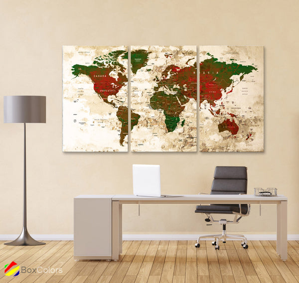 "LARGE 30""x 60"" 3 panels 30x20 Ea Art Canvas Print Watercolor Map World Push Pin Travel M1824 - BoxColors"