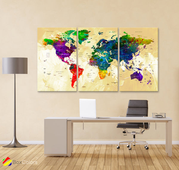 "LARGE 30""x 60"" 3 panels 30x20 Ea Art Canvas Print Watercolor Map World Push Pin Travel M1825 - BoxColors"